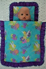 """PlaynWear Dolls Clothes For 17""""Baby Born & 16"""" Cabbage Patch PILLOW & QUILT SET"""