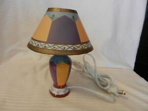 """Small Glass Vase Style Night Light With Shade 8"""" Tall Corded On/Off Switch"""
