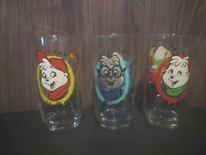 3 Vintage 1985 Alvin And The Chipmunks Drinking Glasses