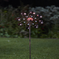 Metal Garden Wind Spinner with Solar Crackle Ball Light Garden Feature Display