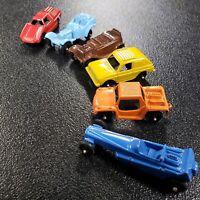 6 Vintage Tootsie Toys Metal Cars Roadster, Rabbit, Fiat Abarth, Wedge D, Baja R