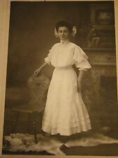 Vintage - Cabinet Photograph - Young Woman - Wolf Rug - Bow in Hair - Killian PA
