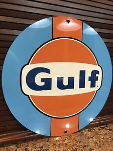Gulf racing advertising sign oil gas Lemans ford Round Metal