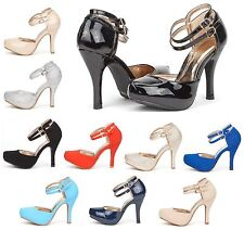 DREAM PAIRS Women Pump Shoes Ankle Strap Stilettos High Heel Wedding Party Shoes