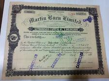 MARTIN BURN LTD CALCUTTA VIGNETTED STOCK SHARE CERTIFICATE DESIGN BORDER 1946
