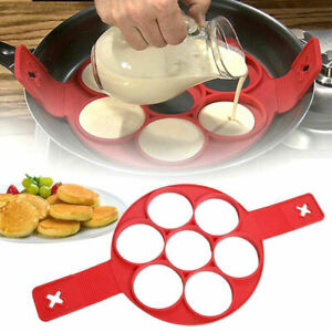 Silicone Pancake Maker Non Stick Mould Cooking Egg Omelette Tool Flip 7 Ring UK