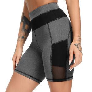 Damen Kurzhose Sporthose Yoga Gym Leggings Mesh Sportshorts Leggins Laufhose A