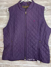Ariat Quilted Purple Riding Vest Womens XL Full Zip Equestrian Outdoor