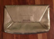 J.Crew Leather envelope clutch in crackled gold foil