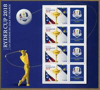 France 2018 MNH Ryder Cup Golf 4v + Label M/S Sports Stamps