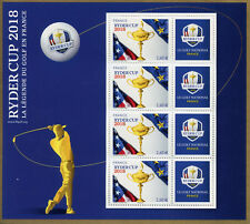 France 2018 neuf sans charnière Ryder Cup Golf 4 V + Label M/S Sports timbres