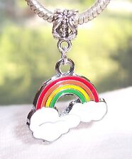 Rainbow Multi Color Red Green Enamel Dangle Charm for European Bead Bracelets