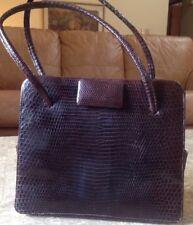 Rare Vtg Jays Of Bond Street London Genuine Brown Java Lizard Handbag Minty