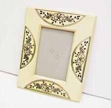 PICTURE FRAME Cream Color 2 Way Black Flower Fan Design Beaded Edge Trim