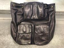 Perlina Leather Backpack Brown 3 Pockets Adjustable Straps