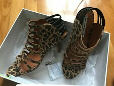 unworn & other stories high heeled leopard print leather sandals, size 40