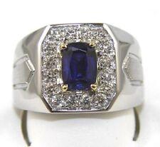 e35bb2929771 Corte Esmeralda Zafiro Azul Diamante Solitario Hombres Anillo 14k Oro Blanco