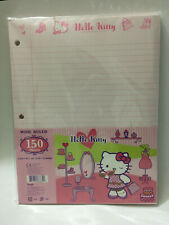 """Sanrio Hello Kitty 3 Hole Wide Ruled Binder Paper 150 Sheets Appr 11"""" x 8.5"""" ea."""