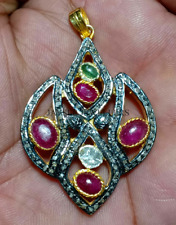 925 Silver Natural Ruby, emerald Gemstone Rose Cut Polki Pave Diamond Pendant