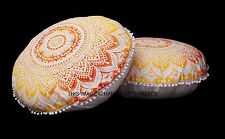 "Indien Ombre Mandala White Floor Pillow Ottoman Pouf Large Seat Cushion 32"" Pair"