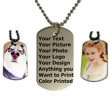 Personalized Custom Photo Double Sided Color Picture Dog Tag Necklace Pendant