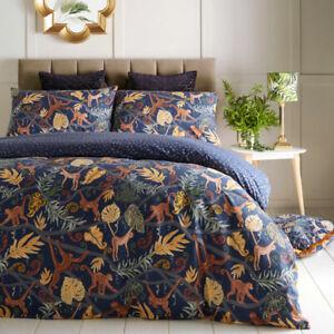Furn Monkey Forest Print Reversible Duvet Cover Set, Midnight Blue
