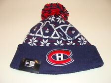 New Era Cap Hat Toque Beanie Pom Knit Christmas Sweater Montreal Canadiens NHL