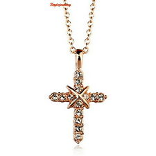 Elegant 18k Rose Gold Plated Clear Crystal Women's Cross Necklace N61