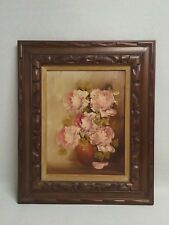Antique Vintage Oil Painting impressionist huge pink and red roses garden style