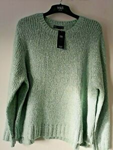 LADIES M&S SIZE 24 MINT WITH SEQUIN SPARKLE SOFT STRETCH JUMPER FREE POST