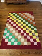 "Vtg Colorful Patchwork Crazy Block Design Quilt 66"" x 46"" Decor Hand Tied Neat!"