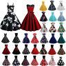 Damen Rockabilly Hepburn Petticoat 50er Jahre Vintage Freizeit Party Skaterkleid