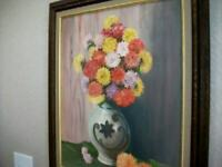 1950s FLORAL OIL PAINTING ROUND TOPIARY BOUQUET VASE TABLE VINTAGE MID CENTURY