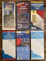 Vintage Road Map Lot of 6 -Atlas Books, Folding Maps - California Regions