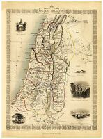 Old Vintage Map of Ancient Palestine Israel richly illustrated Tallis 1851