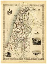 Old Vintage Map of Ancient Palestine Israel richly illustrated Tallis 1851