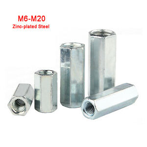 M6 M8 M10 M12 M14 M16 M20 Zinc-Plated Hexagon Connector Rod Bar Stud Long Nuts