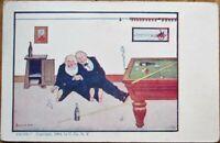Wall/Artist-Signed Billiard/Pool 1904 Postcard - Drunk Men, Cigar Smoking