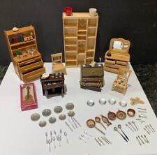 Lot: Miniatures Furniture Accessories Bookcase Bureau Desk Dishes Guitar Chairs