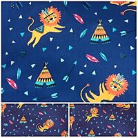 Polycotton Fabric CHILDRENS RED INDIAN LION  Per Metre Craft Material