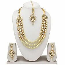 Indian Bollywood Style Fashion Wedding Gold Plated Bridal Necklace Earrings Set