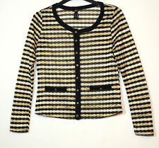 BLACK WHITE GOLD STRIPED LADIES FORMAL PARTY CARDIGAN TOP SIZE  6 ATMOSPHERE