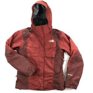 The North Face Womens Medium Fleece Lined Ski Snowboard Red Hooded Jacket