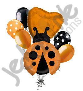7pc Orange Little Lady Bug Balloon Bouquet Party Decoration Birthday Baby Shower
