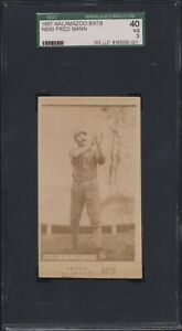 1887 Kalamazoo Bats N690 Fred Mann SGC 40!!  Rare Ad Back Athletics