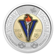 2020 Canada 75th Anniversary End of World War II Coloured Toonie Coin From Roll