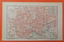 OSLO  CHRISTIANIA  Norwegen  historischer  Stadtplan 1905 City Map