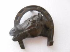 ANCIEN BRONZE  FER + TETE CHEVAL EN RELIEF  VINTAGE  P  480 G  JP PARIS