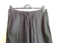 BNWOT - LADIES BLACK LINEN WIDE-LEG TROUSERS BY TU - SIZE 10R