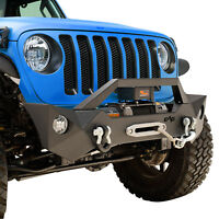07-19 Jeep Wrangler JL JK Front Bumper With Fog Light Hole & Winch Plate& D-Ring